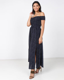 Revenge Off Shoulder Maxi Dress Multi Navy