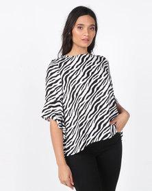 Revenge Zebra Print Top Multi Black