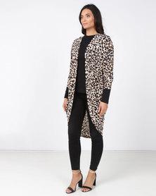 Revenge Kimono Leopard Print Top Tan