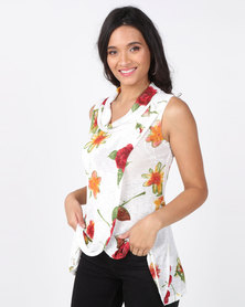 Revenge Flower Print Top Multi Cream