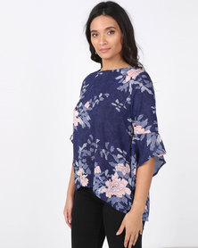 Revenge Flower Print Top Blue