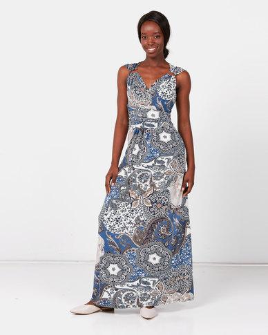 Revenge Paisley Print Maxi Dress Blue
