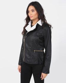 Utopia PU Biker Jacket With Sherpa Lining Black