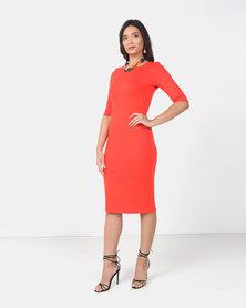 Utopia Orange 3/4 Sleeve ponti Bodycon Dress