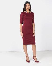 Utopia Burgundy 3/4 Sleeve Ponti Bodycon Dress