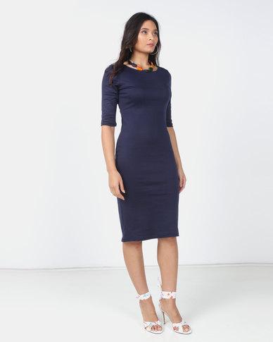 Utopia Navy 3/4 Sleeve ponti Bodycon Dress