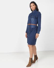 Utopia Mid wash denim Shirt Dress with belt