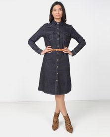 Utopia Dark Wash denim shirt Dress with belt
