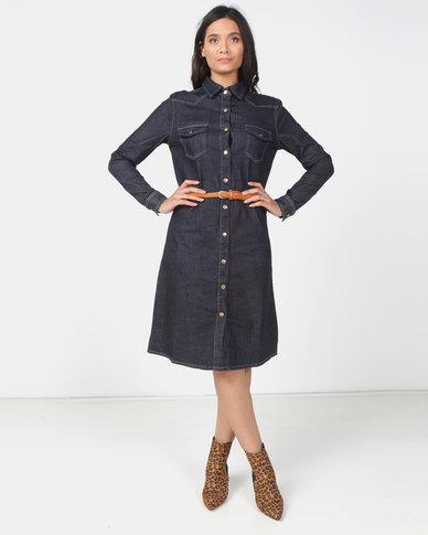 Utopia Dark Wash denim shirt Dress with belt
