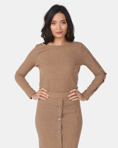 Utopia Cut N Sew Top With Buttons Camel