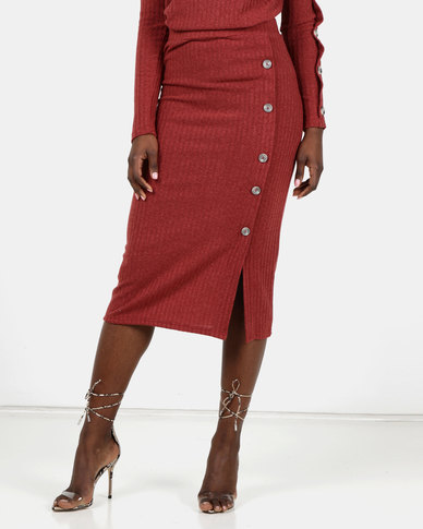 Utopia Cut N Sew Skirt With Buttons Terracotta