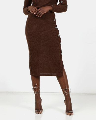 Utopia Cut N Sew Skirt With Buttons Coffee