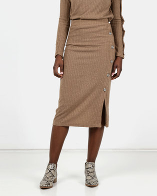 Utopia Cut N Sew Skirt With Buttons Camel