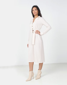 Utopia Shirt Dress with Buckle Trim Buttermilk