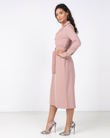Utopia Shirt Dress with Buckle Trim Pink