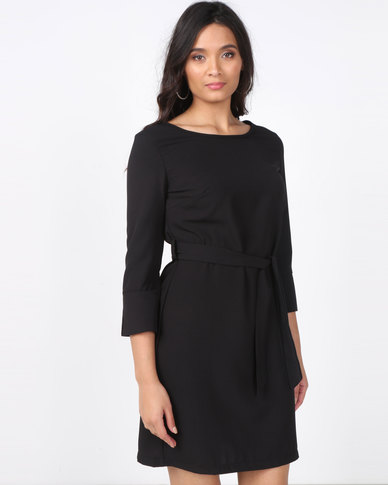 Utopia 3/4 Sleeve Tunic Dress with Belt Black