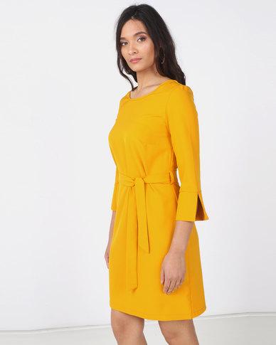 Utopia 3/4 Sleeve Tunic Dress with Belt Yellow