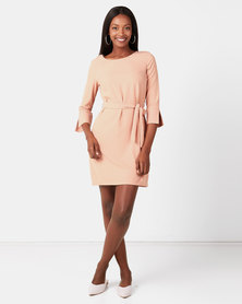 Utopia 3/4 Sleeve Tunic Dress with Belt Pink