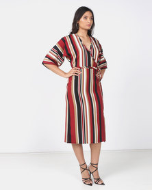 Utopia Stripe Mock Wrap Dress Multi