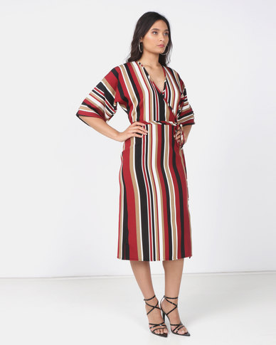 Utopia Stripe Mock Wrap Dress Multi