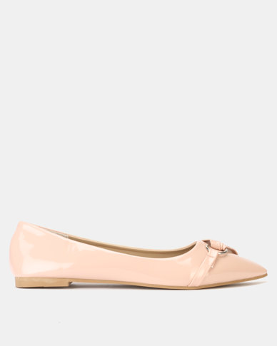 Legit Pointed Pump with Pleated Vamp Overlay with Circle Trim Blush