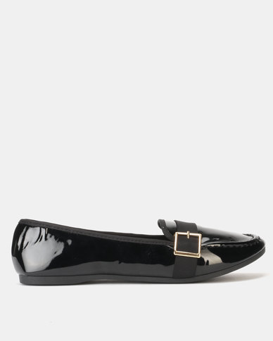 Legit Loafer with Petersham Overlay with Gold Buckle Black