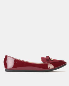 Legit Multi-fabric Pointed Loafer with Metal Ends Bow Burgundy