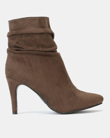 Legit Pointed Mid Slouch Boots Taupe