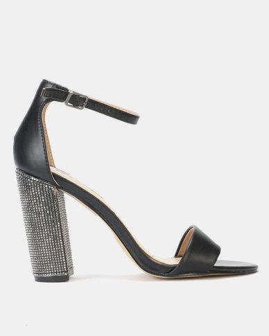 Legit Embellished Block Heel Sandal Black
