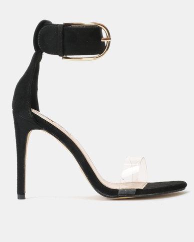 Vinyl Vamp Stiletto Heels with Big Buckle Ankle Strap Black