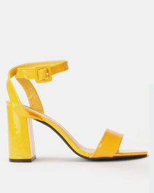 Legit Block Heel Banded Mule with Self-Colour Buckle Yellow