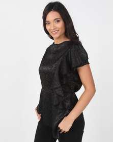 Utopia Jacquard Draped Blouse Black