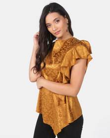 Utopia Jacquard Draped Blouse Mustard