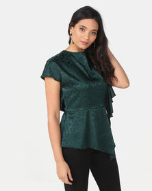 Utopia Jacquard Draped Blouse Green