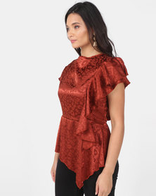 Utopia Jacquard Draped Blouse Rust