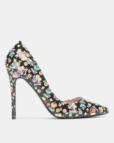 Miss Black Shayda Pointy Court Heels Black/Multi