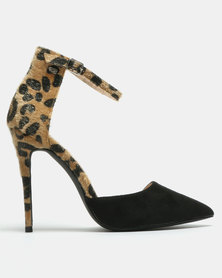 Miss Black Nalenz Ankle Strap Court Heel Animal Print