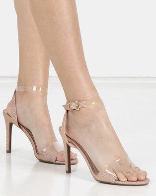 Miss Black Punkin Clear Ankle Strap Sandal Rose Gold
