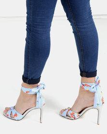 Miss Black Nadine Tie Up Heel Sandal Blue