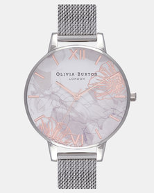 Olivia Burton Abstract Florals Silver Mesh Watch Silver