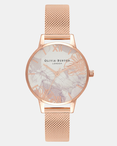 Olivia Burton Abstract Florals Rose Gold Mesh Watch Rose Gold
