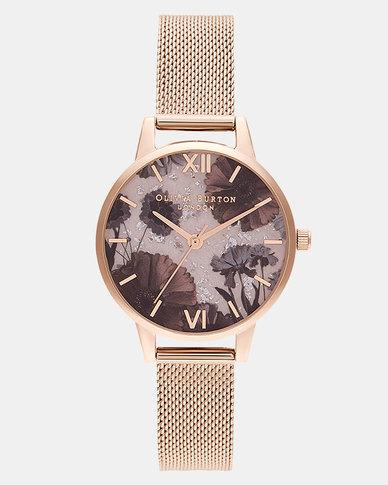 Olivia Burton Celestial Rose Quartz & Pale RG Boucle Mesh Watch Rose Gold