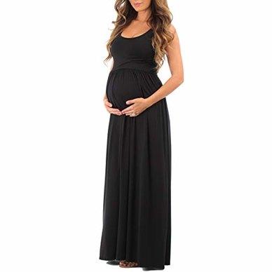 Absolute Maternity Summer Maternity  Maxi Dress Black