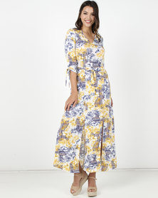 Utopia Fern Print Maxi Dress Ochre/Blue