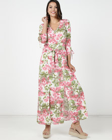 Utopia Fern Print Maxi Dress Pink