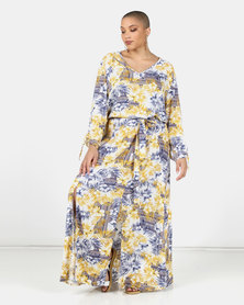 Utopia Plus Ochre/Blue Fern Print Maxi Dress