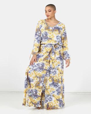 Utopia Plus Ochre/Blue Fern Print Maxi Dress