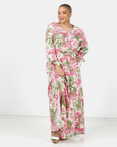 Utopia Plus Pink Fern Print Maxi Dress
