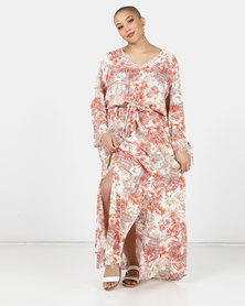 Utopia Plus Neutral Fern print Maxi Dress