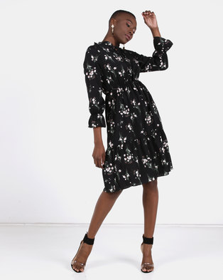 Utopia Ditsy Floral Flare Dress Black